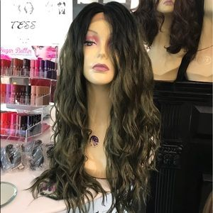Accessories - Wig Long Wavy Lacefront green ombré Anime Cosplay